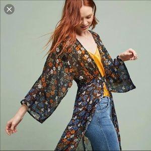 Floreat Anthropologie Black Multi Kimono Cardigan